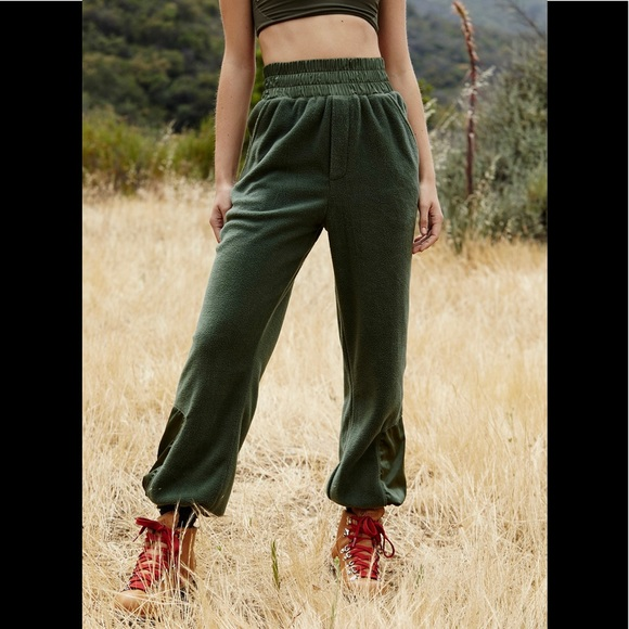 Free People Pants - NWT Free People Slouch It Fleece Jogger Army Med